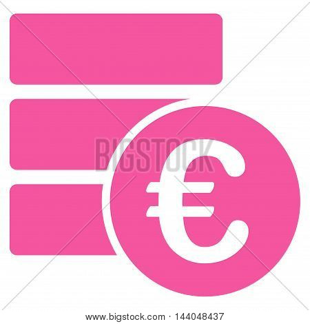 Euro Database icon. Glyph style is flat iconic symbol, pink color, white background.
