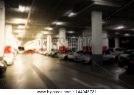 Abstract Blur Parking Car Indoor For Background
