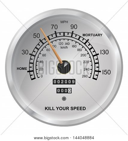 Kill your speed vehicle speedometer button isolated on white background