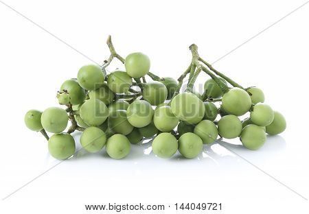 Closeup Solanum torvum on white background. food