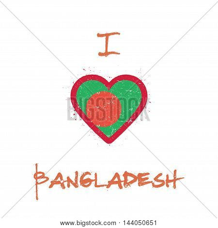 I Love Bangladesh T-shirt Design. Bangladeshi Flag In The Shape Of Heart On White Background. Grunge