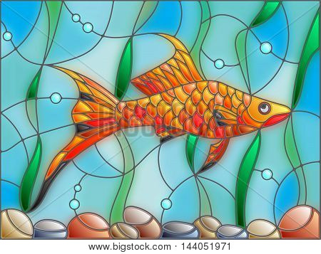 Illustration in stained glass style with swordtail fish on the background of water and algae