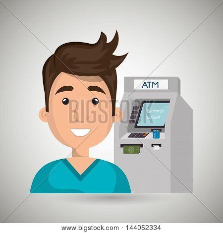 man atm money credit vector illustration eps 10