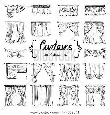 Vector set with hand drawn doodles on the theme of decoration and interior. Illustrations of curtains on white background. Sketches for use in design