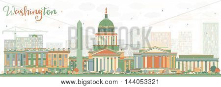 Abstract Washington DC Skyline with Color Buildings. Business Travel and Tourism Concept with Historic Buildings. Image for Presentation Banner Placard and Web Site.