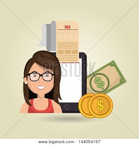 woman smartphone taxes money vector illustration eps 10