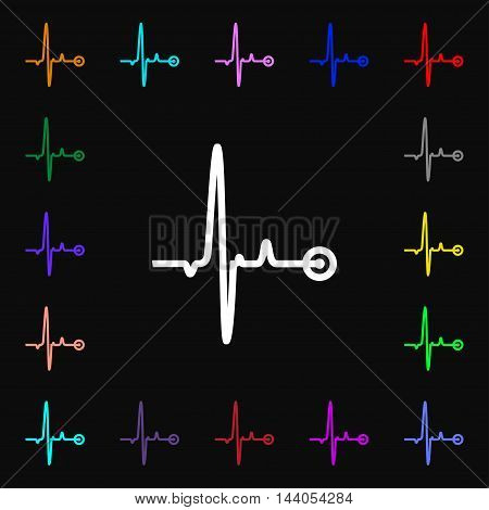 Heartbeat Icon Sign. Lots Of Colorful Symbols For Your Design. Vector