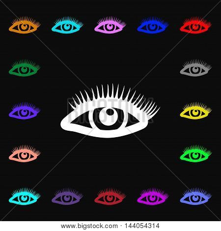 Eyelashes Icon Sign. Lots Of Colorful Symbols For Your Design. Vector