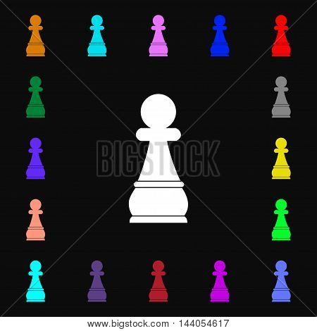 Chess Pawn Icon Sign. Lots Of Colorful Symbols For Your Design. Vector