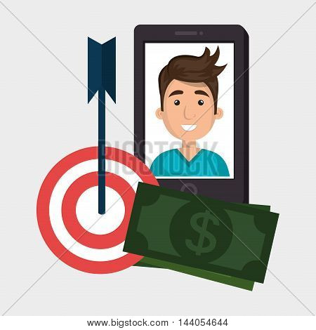 smartphone target money bills vector illustration eps 10