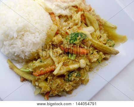 Vegetarian Food With Fried Vegetables With Tofu & Thai Jasmine Rice On White Dish, Healthy Food. Tha
