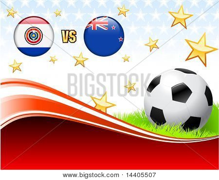 Paraguay versus New Zealand on Abstract Red Background with Stars Original Illustration