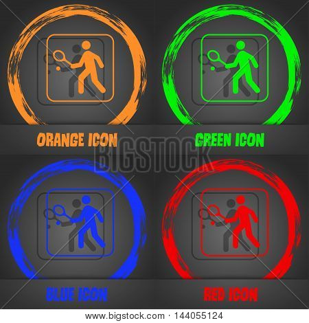 Tennis Player Icon. Fashionable Modern Style. In The Orange, Green, Blue, Red Design. Vector