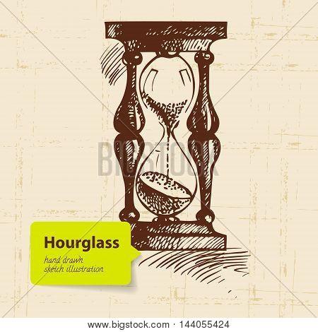 Vintage clock hourglass. Hand drawn vector sketch illustration