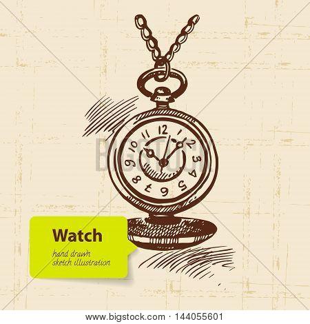Vintage clock. Hand drawn vector sketch illustration