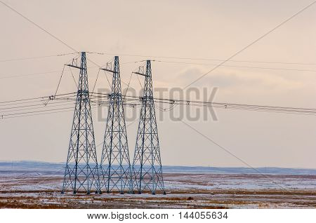 High-voltage Line In The Desert In The Winter