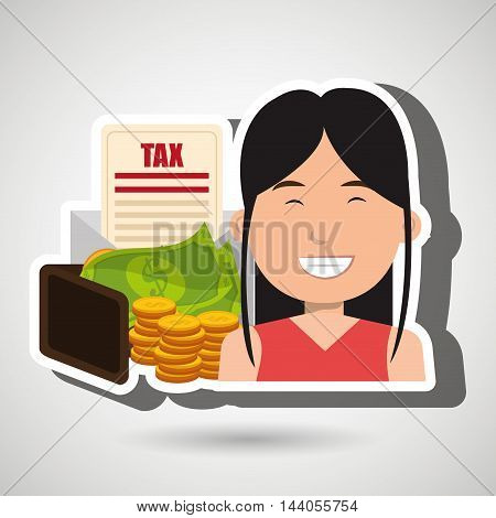woman money currency tax vector illustration eps 10