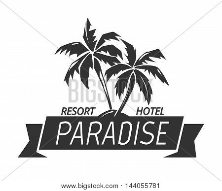 Paradise island resort hotel logo. Tropical illustration and vector summer island