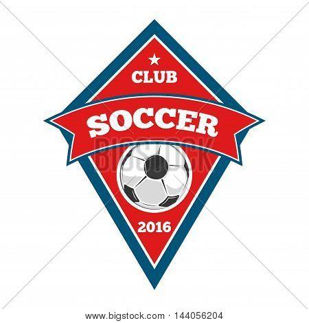 Vector soccer logo, badge, emblem template in red and blue. Football team emblem illustration