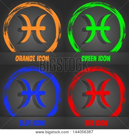 Pisces Zodiac Sign Icon. Fashionable Modern Style. In The Orange, Green, Blue, Red Design. Vector