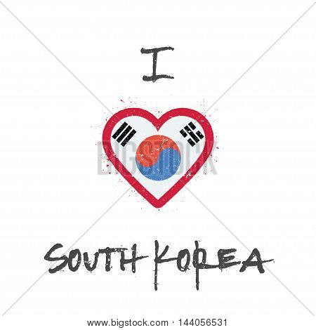 I Love Korea, Republic Of T-shirt Design. South Korean Flag In The Shape Of Heart On White Backgroun