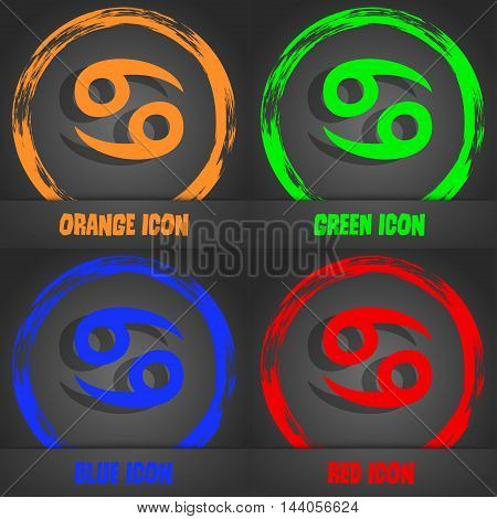 Zodiac Cancer Icon. Fashionable Modern Style. In The Orange, Green, Blue, Red Design. Vector