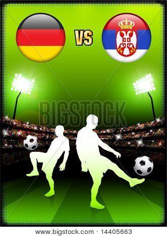 Germany versus Serbia on Stadium Event Background Original Illustration