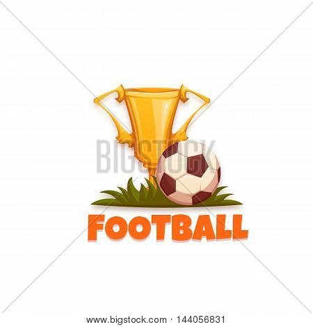 Football banner with ball and goblet. Vector illustration.