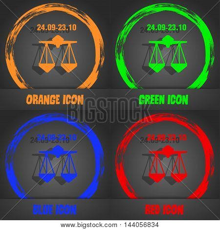 Decorative Zodiac Libra Icon. Fashionable Modern Style. In The Orange, Green, Blue, Red Design. Vect
