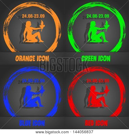 Virgo Icon. Fashionable Modern Style. In The Orange, Green, Blue, Red Design. Vector