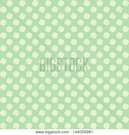 Green floral pattern in pale pastel tones