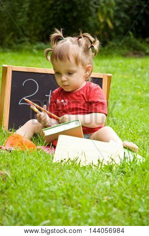 school supplies. child plays. early childhood development