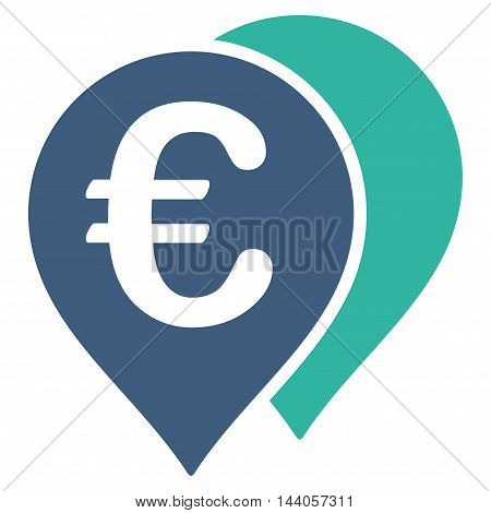 Euro Map Markers icon. Vector style is bicolor flat iconic symbol with rounded angles, cobalt and cyan colors, white background.