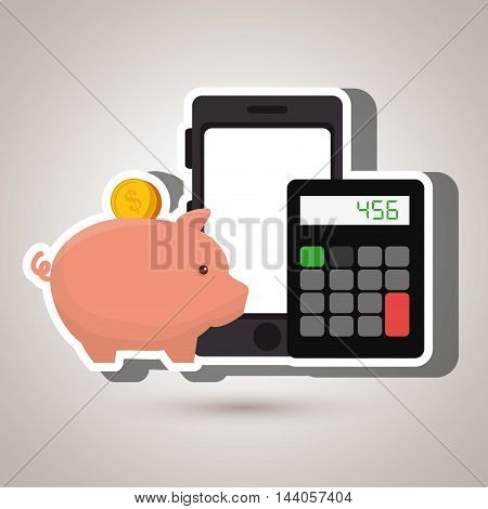 smartphone piggy calculator vector illustration eps 10