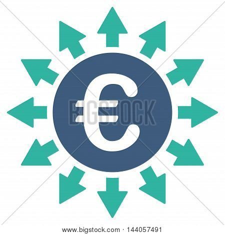 Euro Payments icon. Vector style is bicolor flat iconic symbol with rounded angles, cobalt and cyan colors, white background.