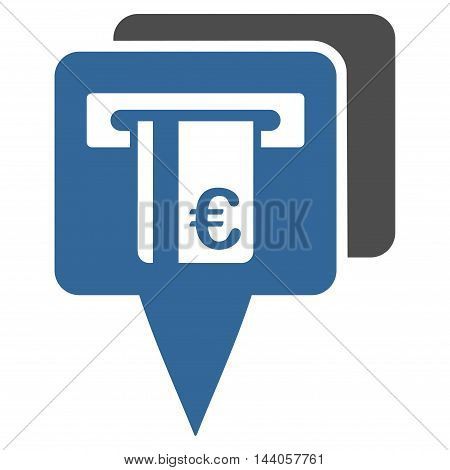 Euro Atm Pointers icon. Vector style is bicolor flat iconic symbol with rounded angles, cobalt and gray colors, white background.