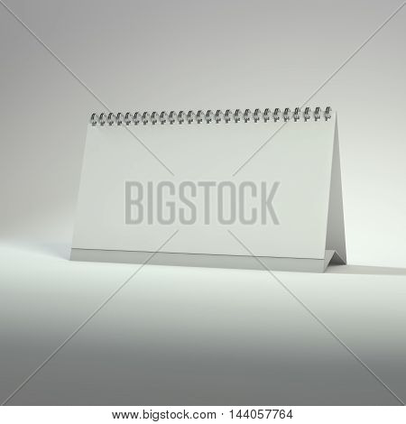 Blank calendar on a white background. 3D rendering.