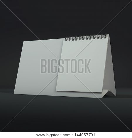 Blank calendar on a dark background. 3D rendering.
