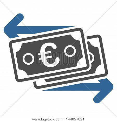 Euro Banknotes Change icon. Vector style is bicolor flat iconic symbol with rounded angles, cobalt and gray colors, white background.