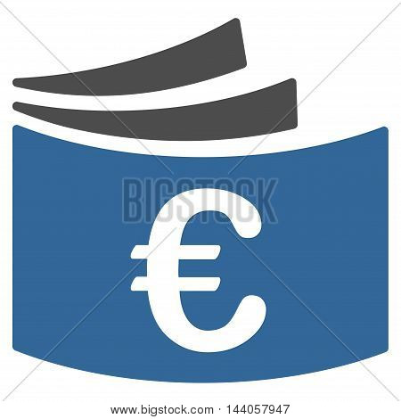 Euro Checkbook icon. Vector style is bicolor flat iconic symbol with rounded angles, cobalt and gray colors, white background.