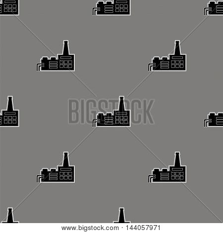 Seamless Grey Industrial Pattern. Chemical Factory Icons
