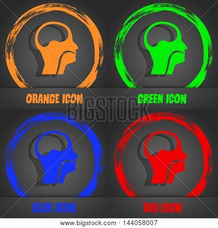 Larynx, Medical Doctors Otolaryngology Icon. Fashionable Modern Style. In The Orange, Green, Blue, R