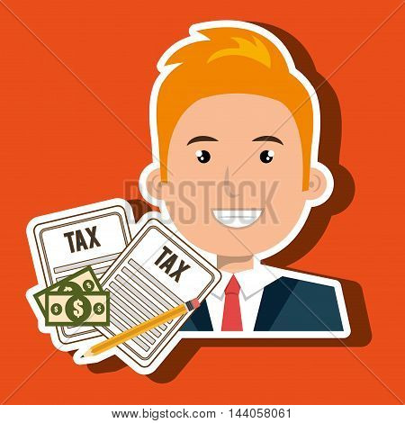 man taxes bills pencil vector illustration eps 10