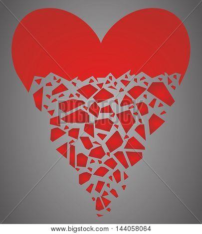 Half heart broken into many pieces. Vector illustration.