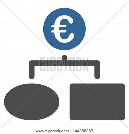 Euro Flow Chart icon. Vector style is bicolor flat iconic symbol with rounded angles, cobalt and gray colors, white background.