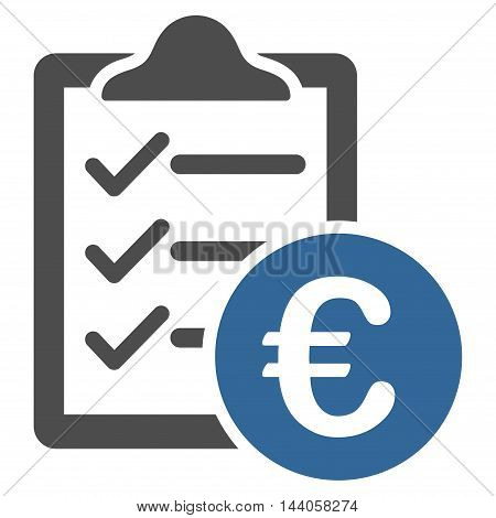 Euro Purchase Pad icon. Vector style is bicolor flat iconic symbol with rounded angles, cobalt and gray colors, white background.