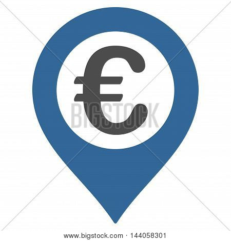 Euro Pushpin icon. Vector style is bicolor flat iconic symbol with rounded angles, cobalt and gray colors, white background.