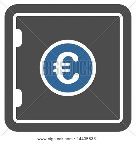 Euro Safe icon. Vector style is bicolor flat iconic symbol with rounded angles, cobalt and gray colors, white background.