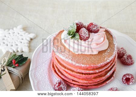 Red Velvet Pancakes Breakfast With Christmas Decoration