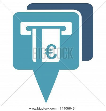 Euro Atm Pointers icon. Vector style is bicolor flat iconic symbol with rounded angles, cyan and blue colors, white background.